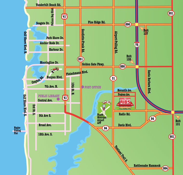 Map Of Naples Florida And Surrounding Area Map to Michelbob's Restaurant   Naples, Florida